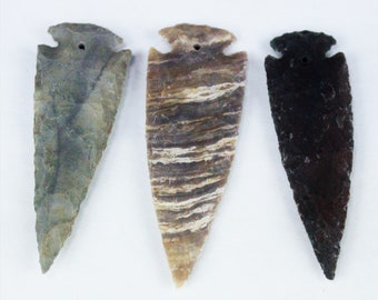 "4"" DRILLED Agate Arrowheads Whole Stone Knapped Arrowhead Spear Point Reproductions"