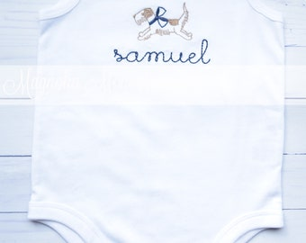 Baby Boy Dog Embroidery white summer Bubble, Summer Baby Bubble, Unisex Baby Bubble, Dog Baby, Summer Baby Bubble, Baby Romper, Dog Romper
