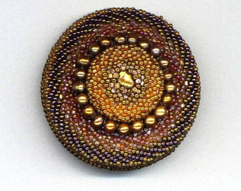 Golden Beadwoven Brooc,. Genuine Pearl brooch, Chocolate Caramel OOAK pin, Gift for her, bronze Mandala - Hollywood Style by enchantedbeads