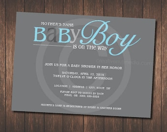 Baby Boy Is On The Way! - Baby Shower Invitation / Blue / Gray / Modern Shower Invite / Custom Shower Invitation / Celebrate New Baby