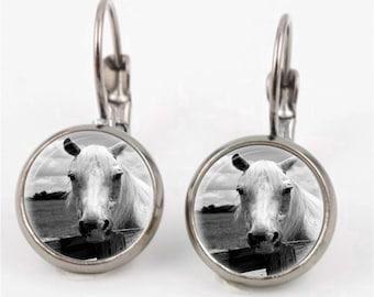 White Horse Earrings or Ring