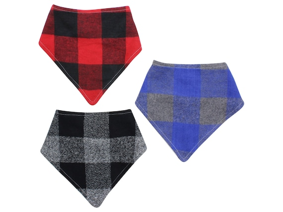 Buffalo Plaid Bibdana Buffalo Check Baby Bib Boy Drool Lumberjack Bib Red Black Blue Gray Bibdana Boy Bib Organic Bamboo Baby Terry Fall