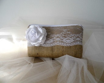 Bridesmaid Clutch, Burlap And Lace, Rustic Wedding Purse, Bridal Shower Gift, Will You Be My Bridesmaid Bridesmaids Gift, Wedding Accessorie