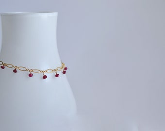 Lilibeth - Ruby, 14k Gold Filled Bracelet || Ruby Bracelet || Red Bracelet