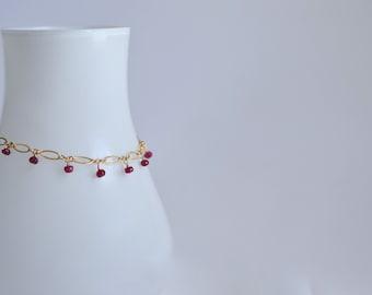 Lilibeth - Ruby, 14 k Gold Filled Bracelet || Bracelet rubis || Bracelet rouge