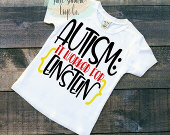 Autism: It Worked For Einstein,Youth T-Shirt,Autism Awareness, Tee,Asperger, Awareness Month,Specials Education, Teacher