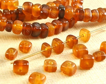 40 Horn Animal Beads 5mm 6mm x 3mm 4mm Nuggets Amber Color  Natural Beads handmade for DIY Projects