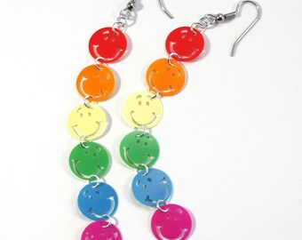 Rainbow Earrings Smiley Face Earrings Colorful Plastic Sequin Dangles