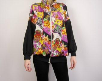 vintage 80's multi colour retro windbreaker bomber jacket