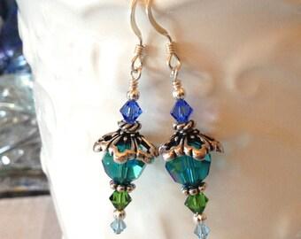 Ocean Green Blue Crystal Earrings in Silver