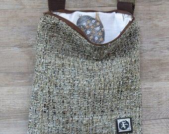 Beige Patterned cotton shoulder bag