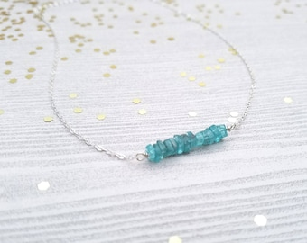 Tiny Apatite and sterling silver necklace