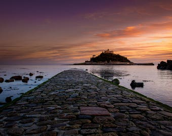 Classic Cornwall Sunset at St Michaels Mount from Mounts Bay Marazion Cornwall