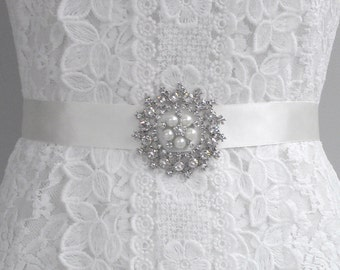 SALE Luxury Wedding Sash, Ivory Bridal Sash, Couture sash, Diamante Sash, Pearl Sash, Rhinestone Sash Satin Sash. Style: Aura