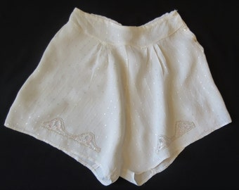 Vintage Lingerie - French Knickers - Tap Pants - Scanties - With Lace Insertion - Waist 65 cm