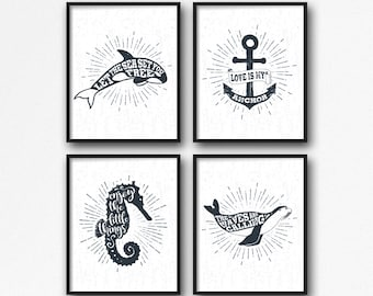 """Nautical Print Set 4 of 8x10"""", Nautical Quote, Nautical Typography, Nautical Poster, Anchor Quote, Seahorse Quote, Sealion Quote, Orca Whale"""