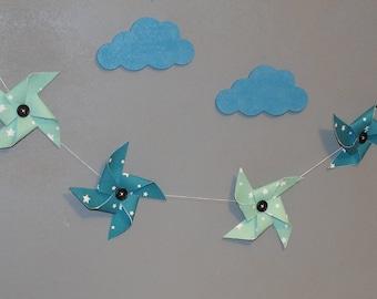 Garland windmills in shades of blue