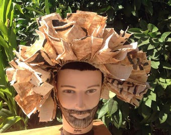 Authentic Tapa Cloth Headpiece. Perfect For Tahitian & Rarotongan/Cook Islands Tane/Boys  Or Girls. Perfect For Dancers Of All Ages, Luau!!