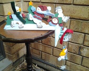 Vintage Christmas Wooden Shelf Hanger