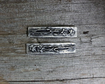 Poppies silver pewter barrette pair