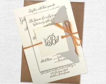 Rustic and Antique Letterpress Calligraphy Wedding Invitation: gray, cream, brown