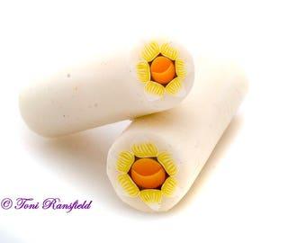 Yellow Daffodil Polymer Clay Cane, Raw polymer Clay Cane, Millefiori Polymer Clay