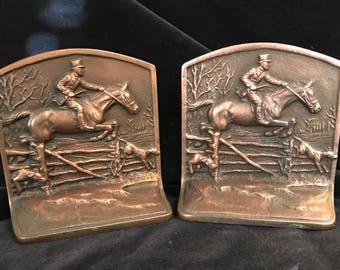 Vintage Bookends Horse The Fox Chase Made by Hubley circa 1925 Numbered 215