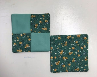 Quilted Coasters, Green, Floral, Set of 2