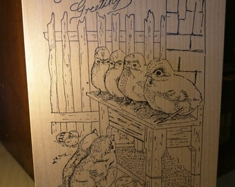 NEW Easter Greetings Stampa Rosa rubber stamp