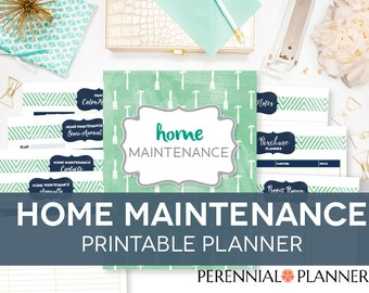 Home Maintenance Printable Kit - 10 Printables, Editable, Paint Record, Annual, House Improvement INSTANT DOWNLOAD