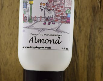 Almond lotion, goat milk lotion, natural lotion, natural skincare, moisturizer, body lotion, hand lotion, scented lotion, hand cream