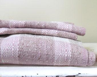 Vintage Pendleton Wool Throw Blanket in Pastel Tones of Dusty Rose and Cream