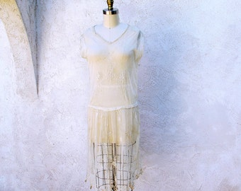 Vintage 20s Dress, 1920 Lace Flapper, Jazz Age Party, Great Gatsby Short Dress, Roaring 20s Drop Waist Ivory Wedding Frock