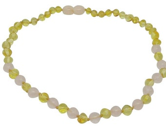 "Luxury Polished Baltic Amber and Rose Quartz Baby Teething Necklace Rounded Beads -- ""It's A Girl"" FREE SHIPPING"