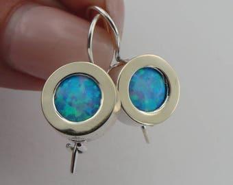 925 Opal Earrings, Silver &  9K Yellow Gold Earrings, Round Opal earrings, Blue Stone Earrings, October Birthstone, Gift, Wedding (ms e1146)