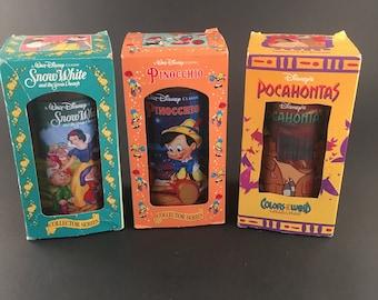 Vintage Burger King Walt Disney Snow White Pinocchio Pocahontas Collector Cup Tumbler Coca Cola Coke
