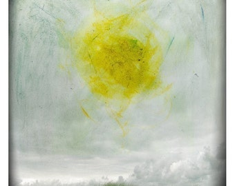 Soleil (Abstract Photography - Fine Art Print - Painting-  Sjy - Landscape - Sun - Circle - Black and white - Yellow)