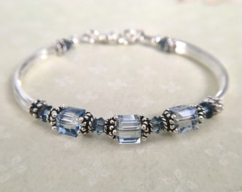 Blue Crystal Bracelet, birthday gift, anniversary gift, wedding jewelry, bridal party, birthstone bracelet, something blue wedding jewelry