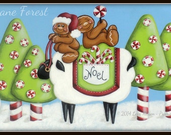 Candy Cane Forest snowmen and gingerbread painting pattern instant download