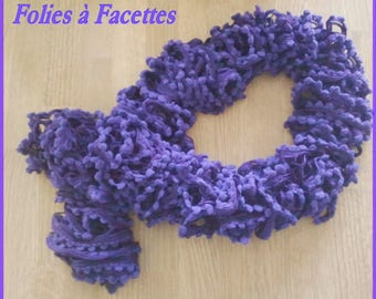 Purple scarf with Ruffles and pom poms