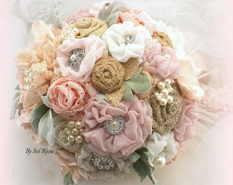 Wedding Bouquet Rose Blush Vintage Green , Shabby Chic Bridal Brooch Bouquet with Burlap Lace and Pearls , Ready To Ship