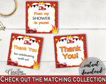 Square Tags Baby Shower Square Tags Fireman Baby Shower Square Tags Red Yellow Baby Shower Fireman Square Tags printable files - LUWX6