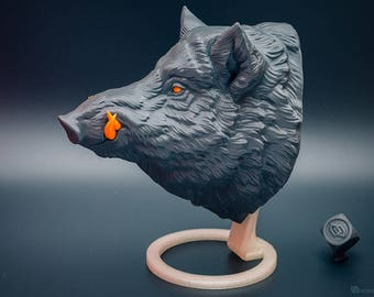 Wild boar head wall mount. Faux taxidermy animal head trophy