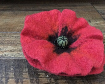 Felting Felted Brooch Red Poppy Merino Wool Beads Great gift for her any occasion