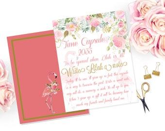 Flamingo Time Capsule/ Birthday/Pink Party/ Flamingo/ Roses/Printable/8x10 11x14 or 16x20 Digital Download