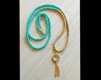 Boho Teal & Gold Glass Beaded Removable Gold Tassel Long Necklace, Tassel Necklace, Layering Necklace, Long Necklace, Boho Necklace
