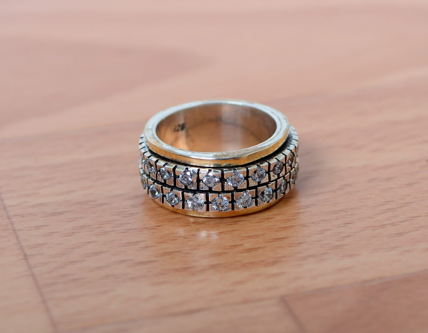Multistone Spin Ring Silver and 9K Gold Ring Wedding Ring