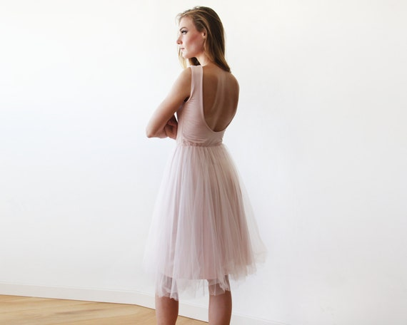 Backless back dress sleeveless Bridesmaids tulle pink tulle pink 1087 gown midi open baby zIArqz