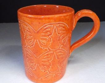 Extra Large Bright Orange Butterfly Coffee Mug