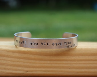 """Jane Austen - Northanger Abbey Quote Bracelet - """"Beware how you give your heart"""" - metal stamped cuff bracelet"""